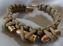 Item#5--9mm Ends w/Army Green Bracelet w/ 3 bullets $15.00