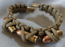 Item#17--Custom 9mm Ends w/Army Green Bracelet w/ 3 bullets $15.00