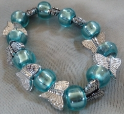 Item #7--- Teal and Butterfly Beaded Bracelet $15.00