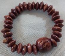 Item #12 Dark Brown Wood Beaded Bracelet--- $15.00
