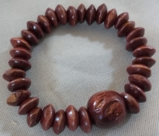 Item #12 Dark Brown Wood Beaded Bracelet--- $15.00