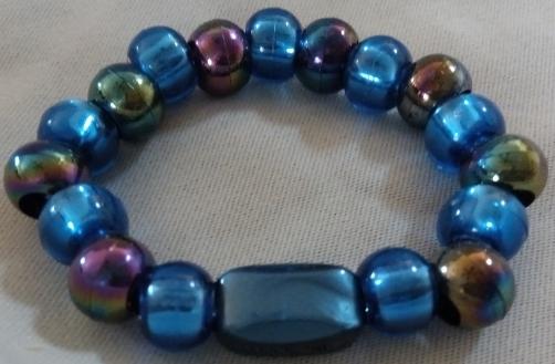 Item #6---Blue and Oil Slick Beaded Bracelet $15.00
