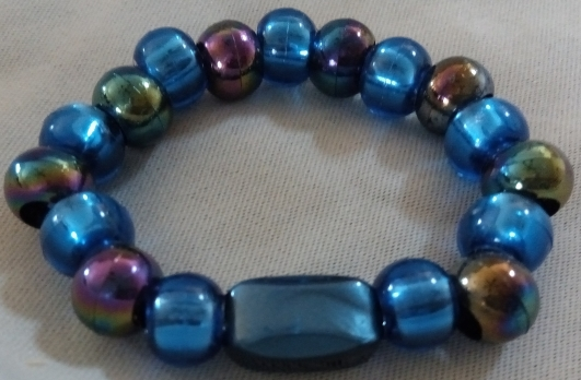 Item #6---Blue and Oil Slick Beaded Bracelet $15.00