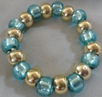 Item #5---Gold and Teal Beaded Bracelet $15.00