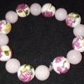 O. Rose Procelin w/ pink glass Chez accent beads $25.00
