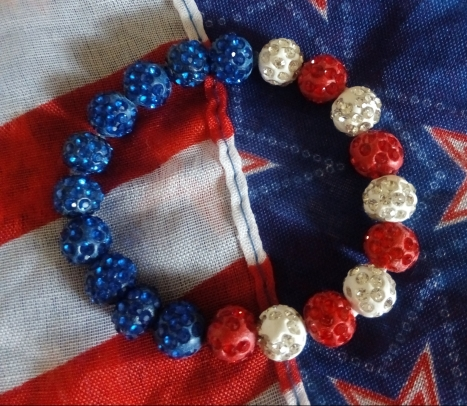 10mm Red, White, Blue Shambala Bracelet